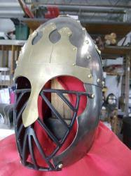 Blackened Steel Rus Helm with brass accents